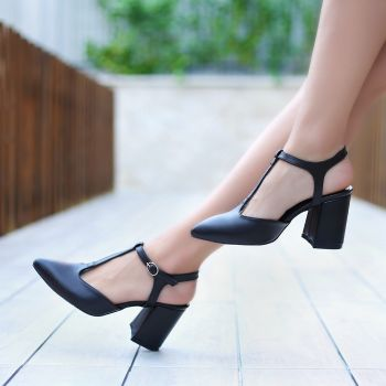 Fanop Black Heeled Flat Shoes