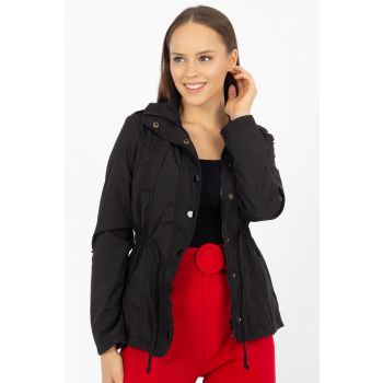 Women's Black Sides Elastic Snap Jacket 21-352