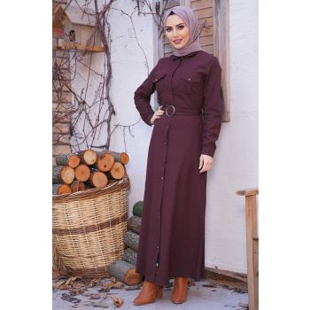 Button Long Model Burgundy Hijab Dress