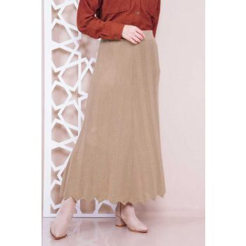 Tricot Camel Flare Skirt