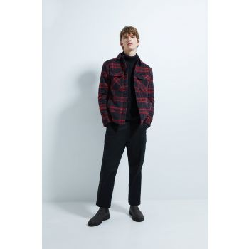 CHECK OVERSHIRT WITH FAUX SHEARLING