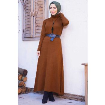 Kloş Model Tile Sweater Dress