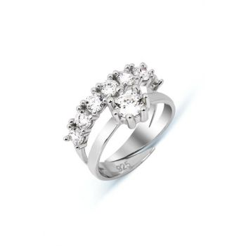 Women Zircon Sterling Silver Yeditaş Solitaire United Combined Adjustable Ring Y005101