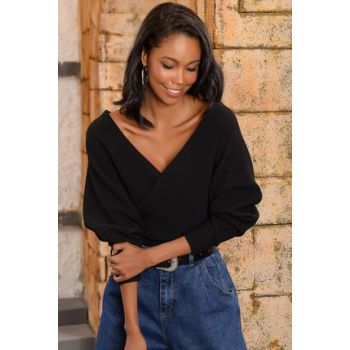 Women's Black Front Back Double Breasted Sweater
