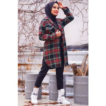 Khaki Color Check Pattern Double Pocket Tunic