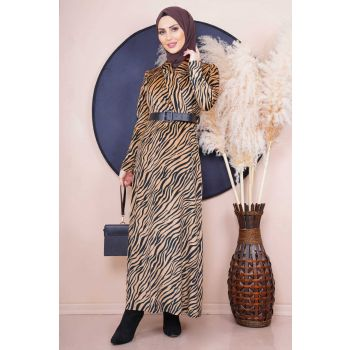 Zebra Pattern Velvet Beige Dress