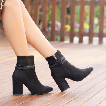 Murya Suede Thick Heel Boots with Black Accessory