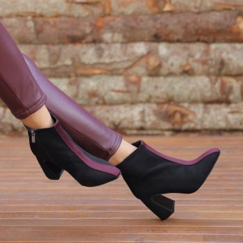 Macedonia Black Claret Thick Heeled Boots