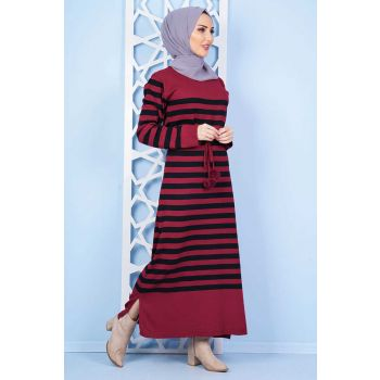 Line Patterned Pompon Burgundy Sweater Dress