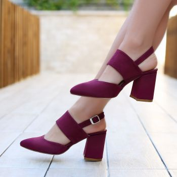 Abires Suede Burgundy Short Heeled Shoes