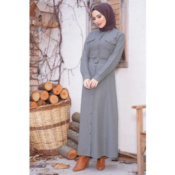 Button Long Model Gray Hijab Dress