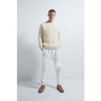 WOOL BOUCLÉ PATCHWORK SWEATER