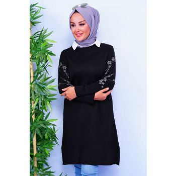 Embroidered Black Knitwear Tunic