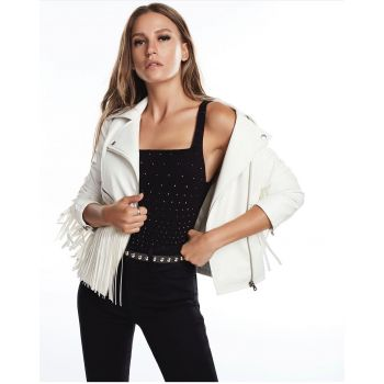 White Faux Leather Jacket with Tassels