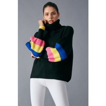 Robin Colored Balloon Sleeve Detailed Sweater Black
