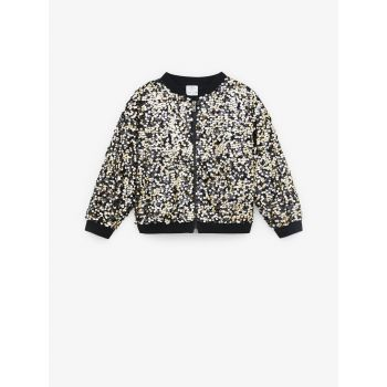 BOMBER JACKET WITH CONTRAST SEQUINS
