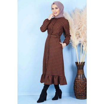 Square Pattern Neck Buttoned Tile Hijab Dress