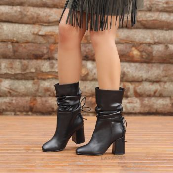Philippine Black Shirred Thick Heel Boots