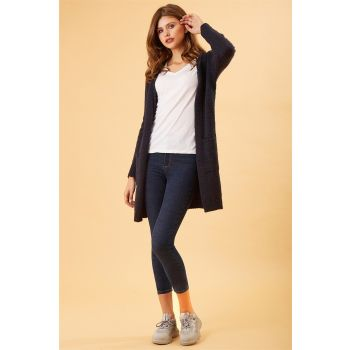 Basic Long Navy Blue Sweater Cardigan