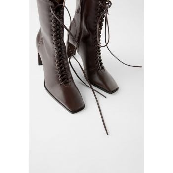 LACE-UP LEATHER HIGH HEEL ANKLE BOOTS