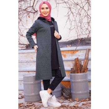 Anthracite Color Cardigan with Side Pockets