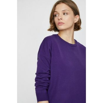 Women's Purple Crew Neck Pullover 0KAK92006HT