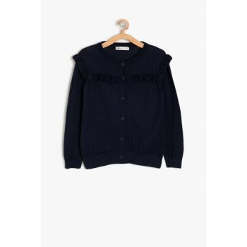 Navy Girl Child Firfir Detailed Cardigan 9KKG97818OT