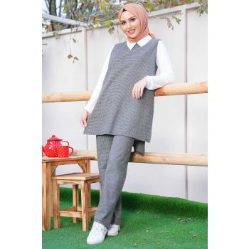 Gray Piti Square Patterned Sweater Triple Set