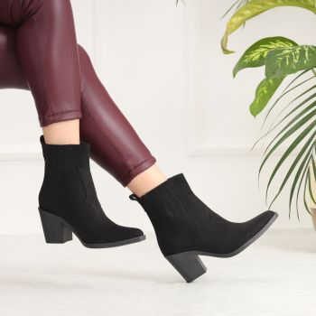 Lapondar Suede Black Thick Heeled Boots
