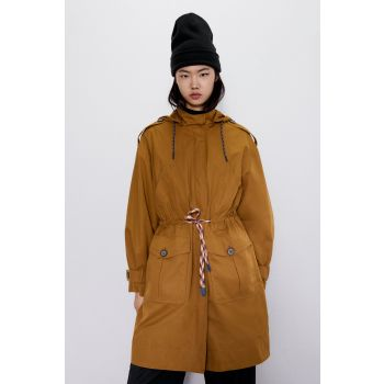 TRENCH COAT WITH CONTRAST DRAWSTRINGS