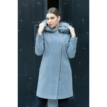 Women's Gray Zip Hooded Fur Coat 3579