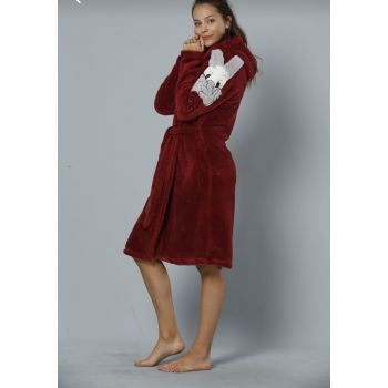 Women's Burgundy Hooded Embroidered Wellsoft Dressing Gown