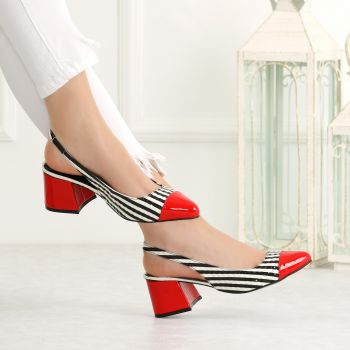 Nasin Patent Leather Red Short Heeled Flats
