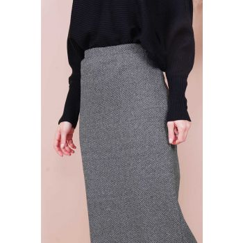 Flecked Pattern Gray Women's Skirt
