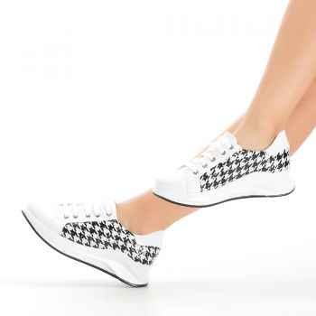 Riga Black and White Patterned Sport Shoes