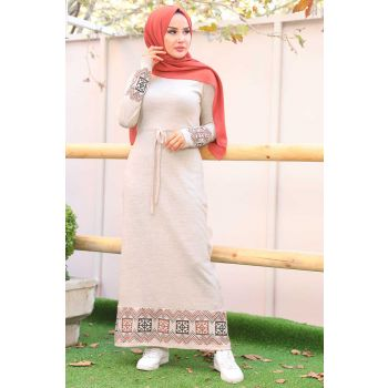 Skirt and Sleeve Ethnic Patterned Beige Sweater Dress