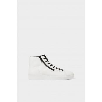WHITE HIGH-TOP SNEAKERS WITH ZIP