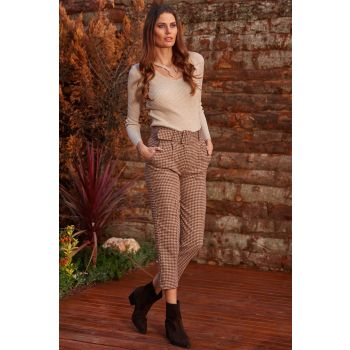 Goose Leg Pattern High Waist Brown Stamp Pants