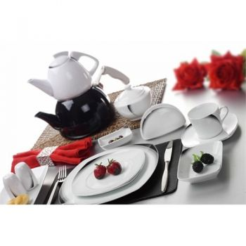 Black Wings 46 Piece Porcelain Breakfast Set - 6 People - 12983