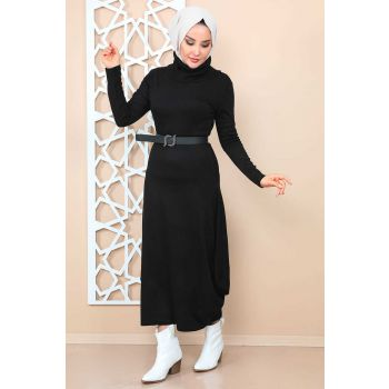 Skirt Balloon Turtleneck Black Women Dress