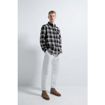 CHECK TEXTURED OVERSHIRT