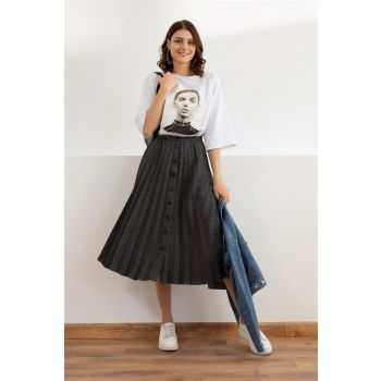 Pleated Woven Fabric Skirt - ANTHRACITE