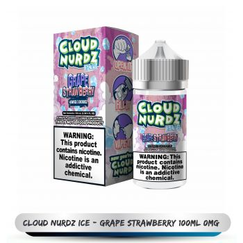 CLOUD NURDZ ICE  GRAPE STRAWBERRY   100ML 0MG