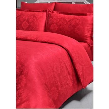 Firuze Jacquard Cotton Satin Double Duvet Cover Set Damask Red