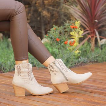 Diyonra Suede Beige Thick Heeled Western Boots