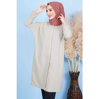 Back Button Beige Hijab Tunic