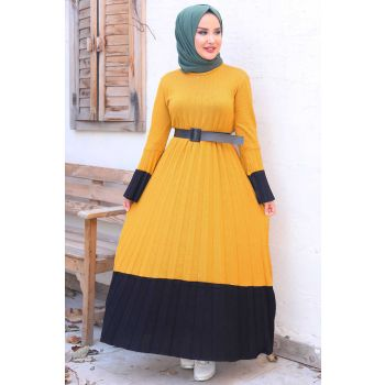 Pleated Model Belt Mustard Sweater Dress