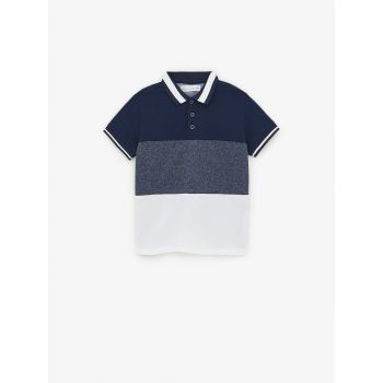 COLOUR BLOCK POLO SHIRT WITH RIBBED TRIMS