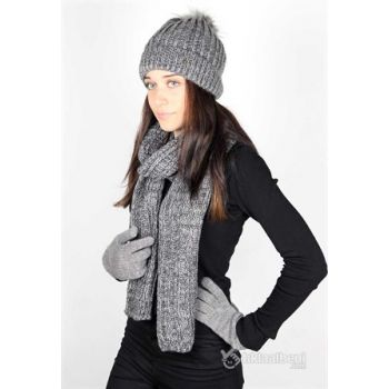 Gloves Set Thick Knit K. grey 3 pieces K8988 K8988