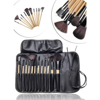 12 Pcs Makeup Brush Set with Leather Bag